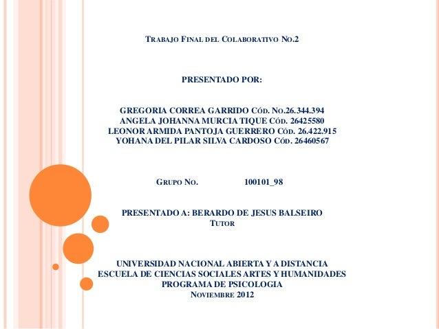 TRABAJO FINAL DEL COLABORATIVO NO.2                 PRESENTADO POR:   GREGORIA CORREA GARRIDO CÓD. NO.26.344.394   ANGELA ...