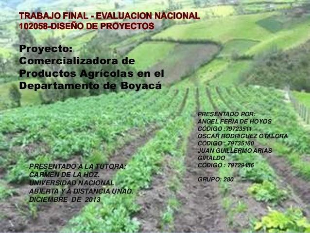 Proyecto: Comercializadora de Productos Agrícolas en el Departamento de Boyacá  PRESENTADO A LA TUTORA: CARMEN DE LA HOZ. ...