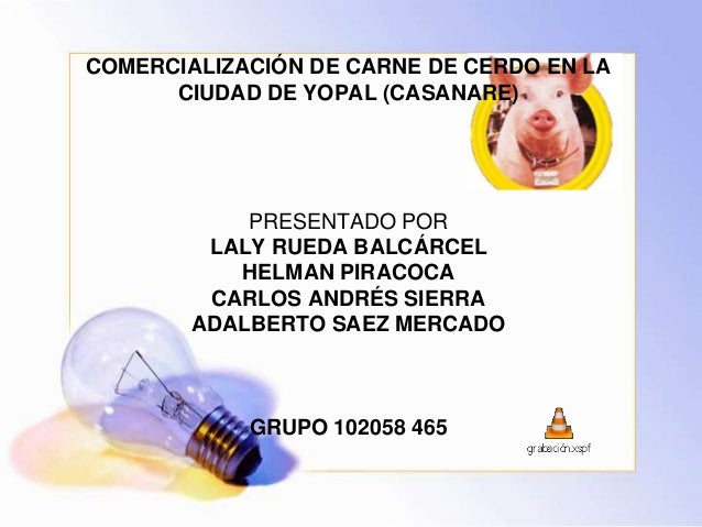 COMERCIALIZACIÓN DE CARNE DE CERDO EN LA      CIUDAD DE YOPAL (CASANARE)            PRESENTADO POR         LALY RUEDA BALC...