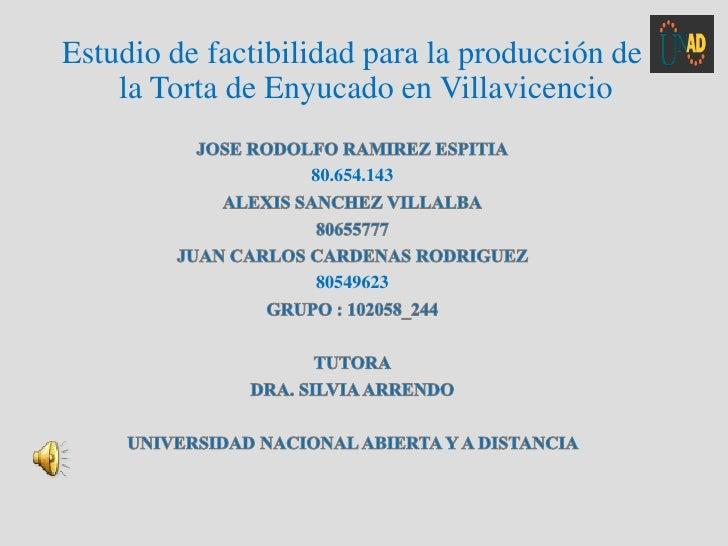 Estudio de factibilidad para la producción de    la Torta de Enyucado en Villavicencio                   80.654.143       ...
