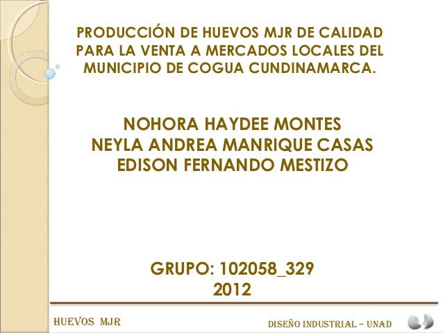 PRODUCCIÓN DE HUEVOS MJR DE CALIDAD   PARA LA VENTA A MERCADOS LOCALES DEL    MUNICIPIO DE COGUA CUNDINAMARCA.        NOHO...
