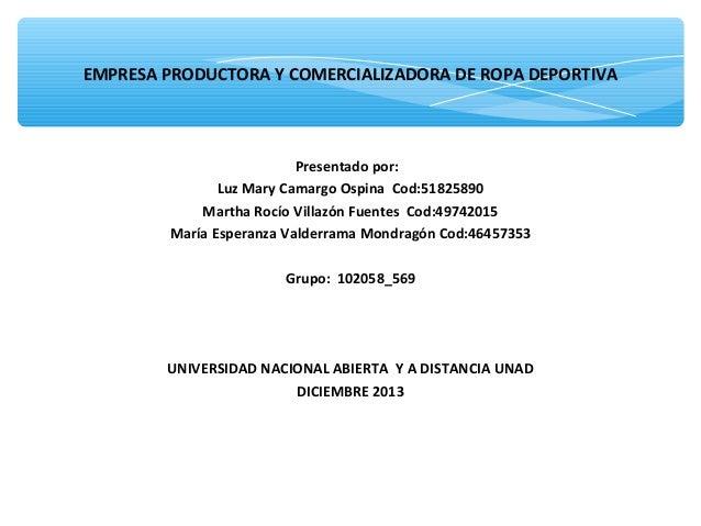 EMPRESA PRODUCTORA Y COMERCIALIZADORA DE ROPA DEPORTIVA  Presentado por: Luz Mary Camargo Ospina Cod:51825890 Martha Rocío...