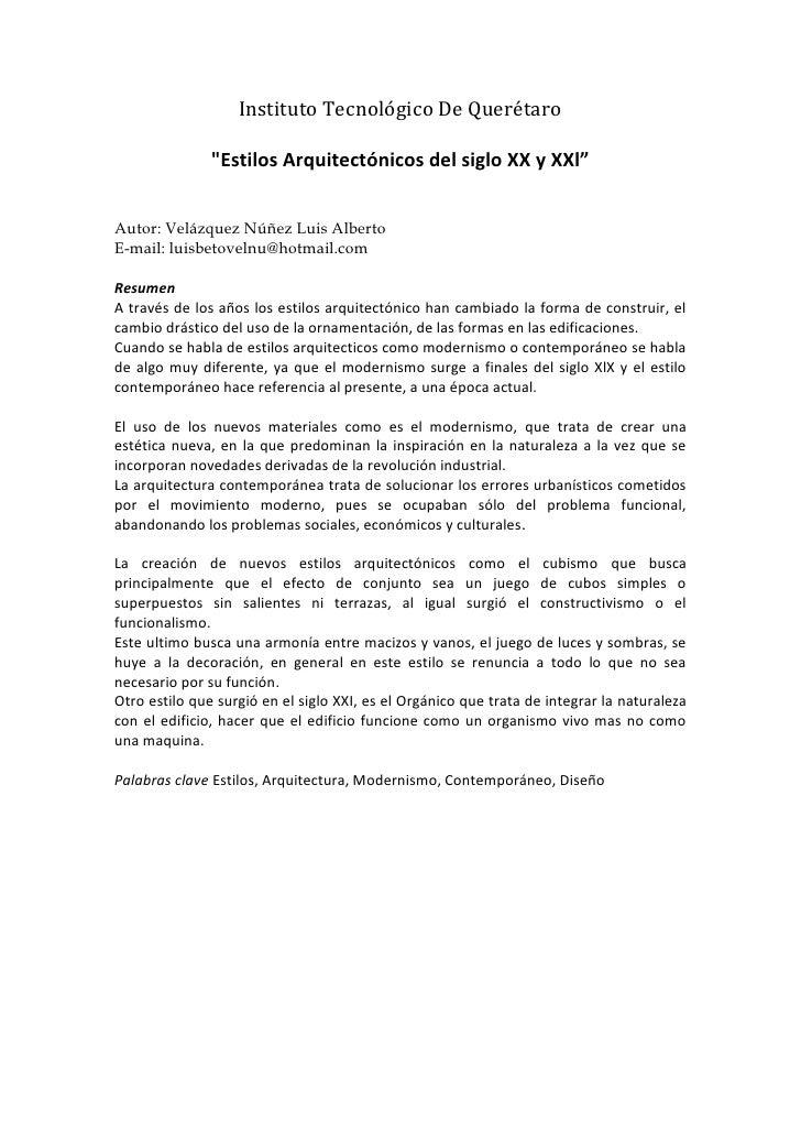 Estilos arquitect nicos del siglo xx y xxl for Estilos arquitectonicos contemporaneos