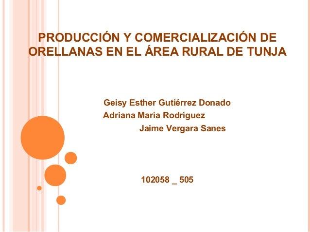 PRODUCCIÓN Y COMERCIALIZACIÓN DE ORELLANAS EN EL ÁREA RURAL DE TUNJA  Geisy Esther Gutiérrez Donado Adriana María Rodrígue...