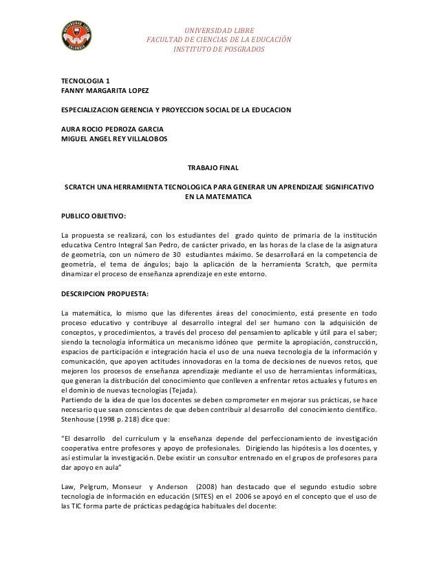 UNIVERSIDAD LIBRE                          FACULTAD DE CIENCIAS DE LA EDUCACIÓN                                INSTITUTO D...