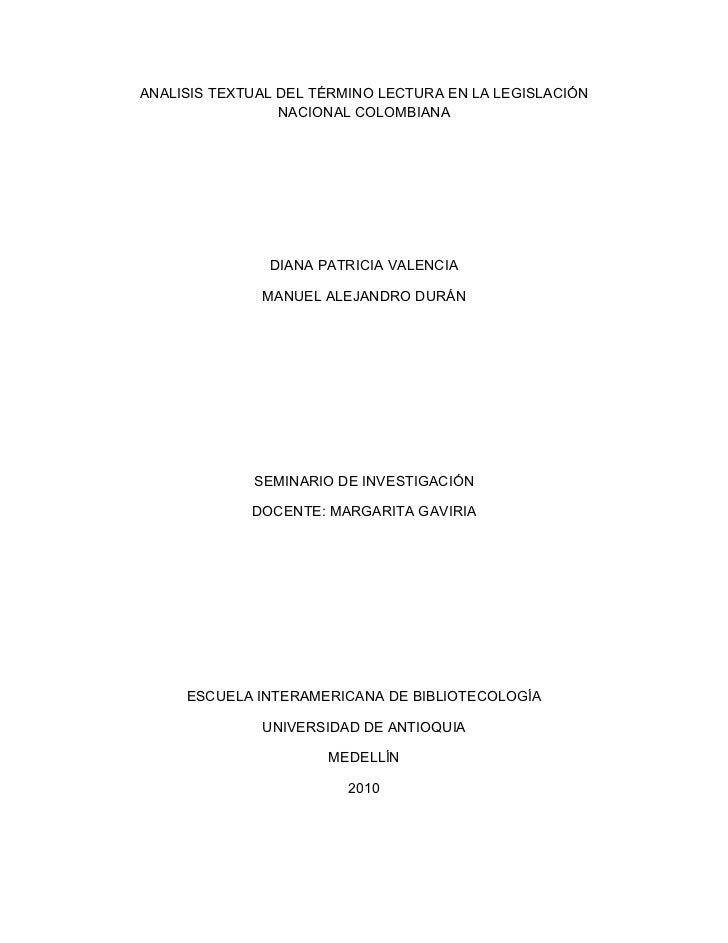 Análisis textual del término lectura en la legislación colombiana
