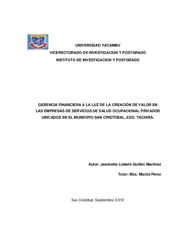 UNIVERSIDAD YACAMBU      VICERECTORADO DE INVESTIGACION Y POSTGRADO         INSTITUTO DE INVESTIGACION Y POSTGRADO GERENCI...