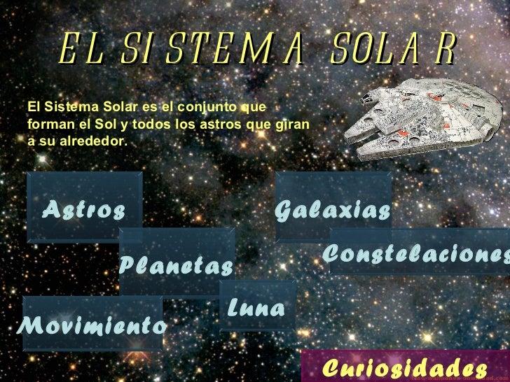 EL SISTEMA SOLAR El Sistema Solar es el conjunto que forman el Sol y todos los astros que giran a su alrededor. Astros Pla...