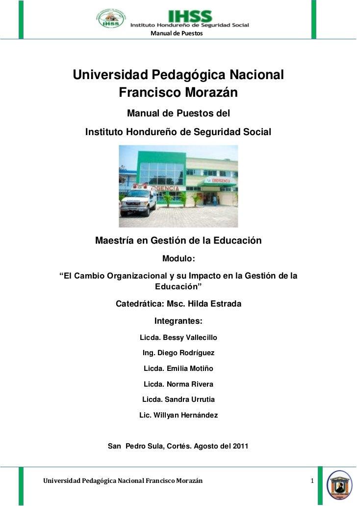 Manual de Puestos         Universidad Pedagógica Nacional                Francisco Morazán                         Manual ...