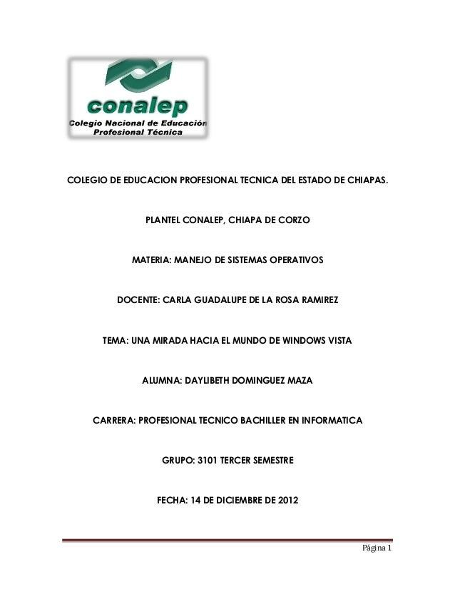 COLEGIO DE EDUCACION PROFESIONAL TECNICA DEL ESTADO DE CHIAPAS.               PLANTEL CONALEP, CHIAPA DE CORZO            ...