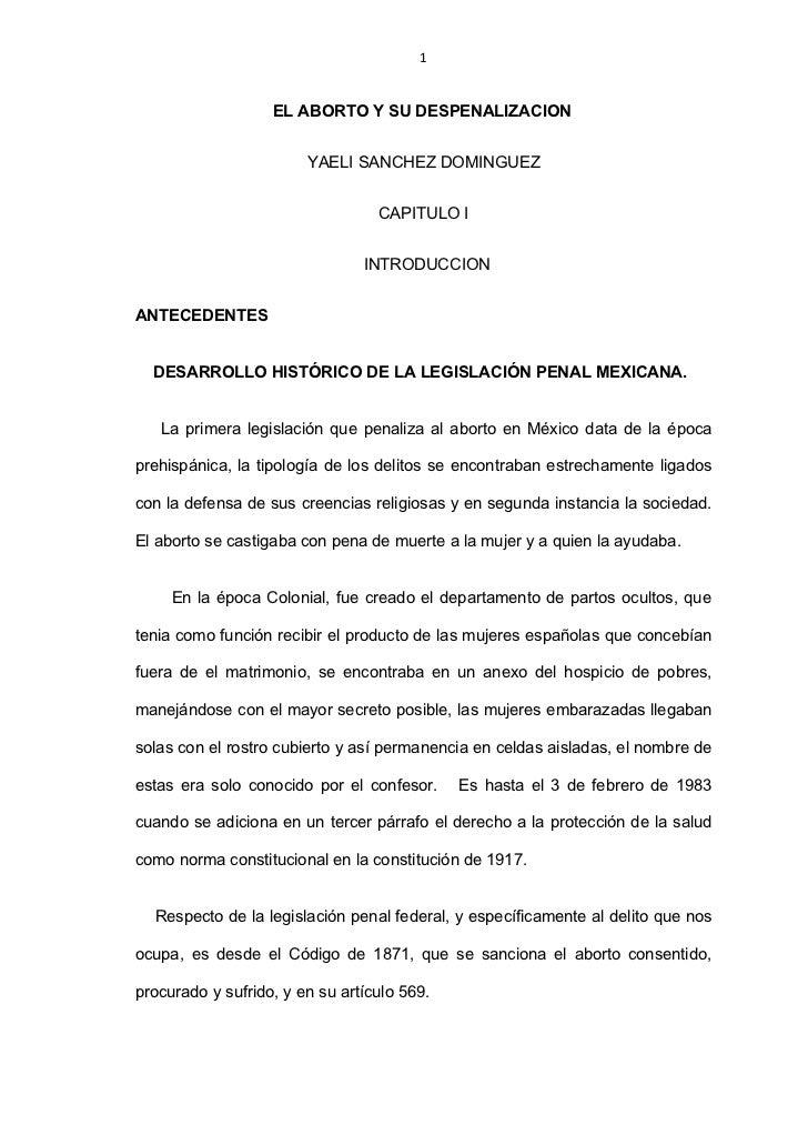 1                      EL ABORTO Y SU DESPENALIZACION                           YAELI SANCHEZ DOMINGUEZ                   ...