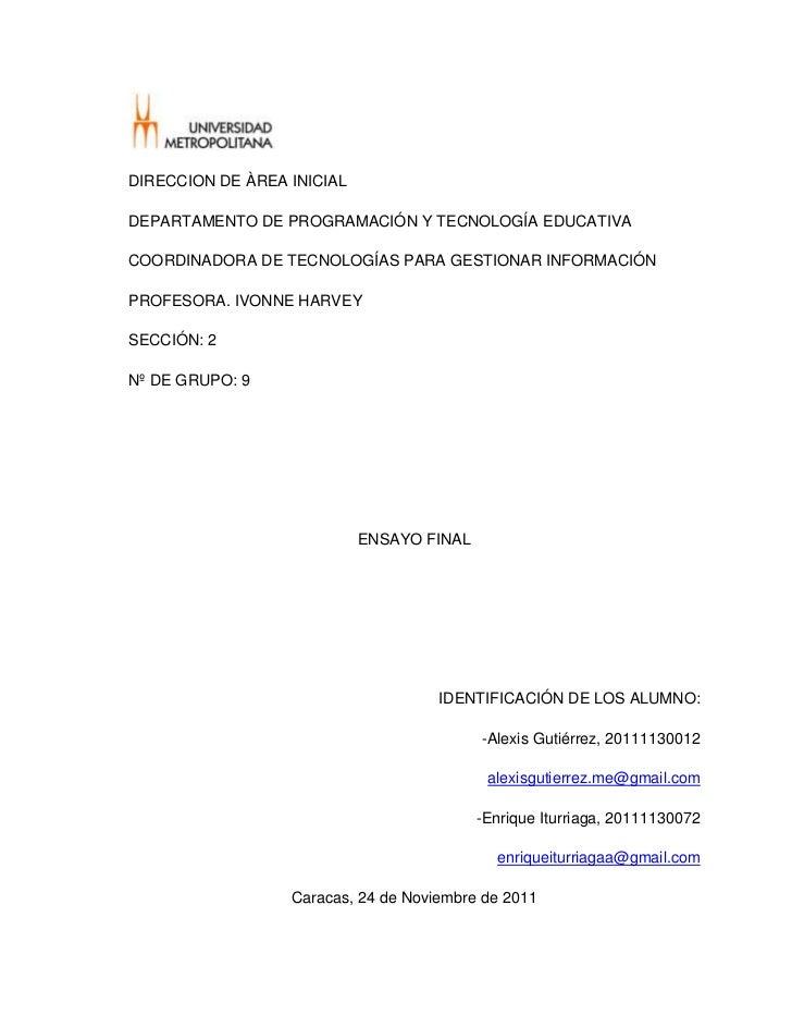 DIRECCION DE ÀREA INICIALDEPARTAMENTO DE PROGRAMACIÓN Y TECNOLOGÍA EDUCATIVACOORDINADORA DE TECNOLOGÍAS PARA GESTIONAR INF...