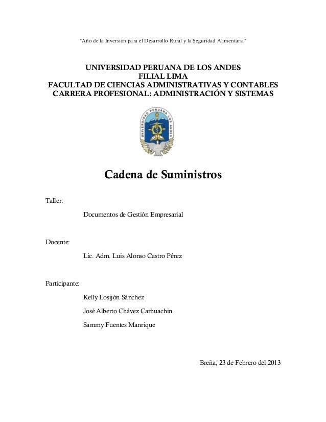 """""""Año de la Inversión para el Desarrollo Rural y la Seguridad Alimentaria""""UNIVERSIDAD PERUANA DE LOS ANDESFILIAL LIMAFACULT..."""