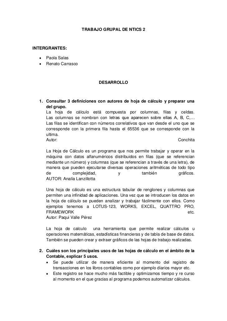 TRABAJO GRUPAL DE NTICS 2INTERGRANTES:     Paola Salas     Renato Carrasco                                 DESARROLLO  1. ...