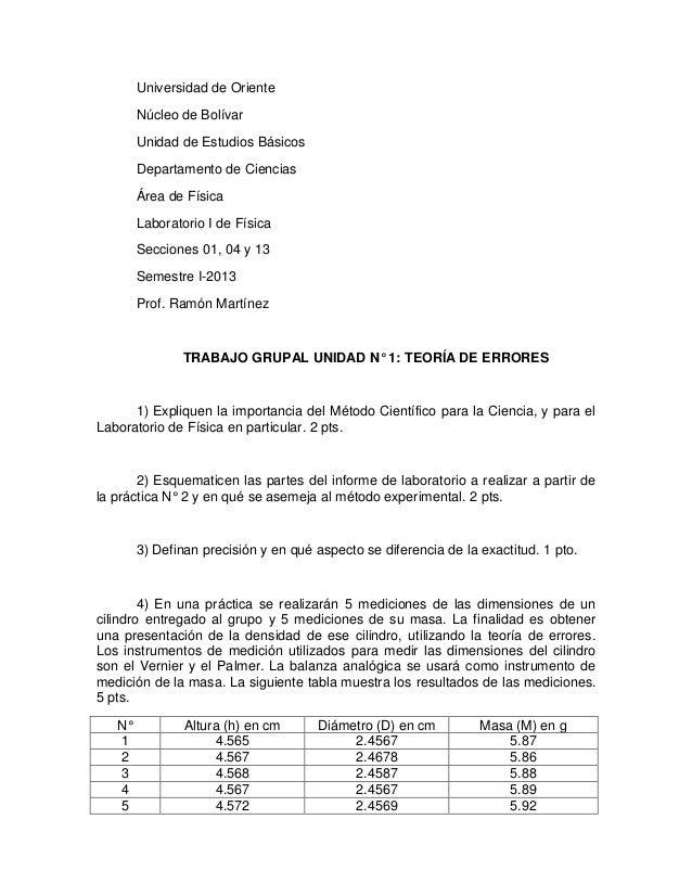 Universidad de OrienteNúcleo de BolívarUnidad de Estudios BásicosDepartamento de CienciasÁrea de FísicaLaboratorio I de Fí...