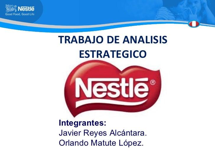 TRABAJO DE ANALISIS ESTRATEGICO Integrantes: Javier Reyes Alcántara. Orlando Matute López.