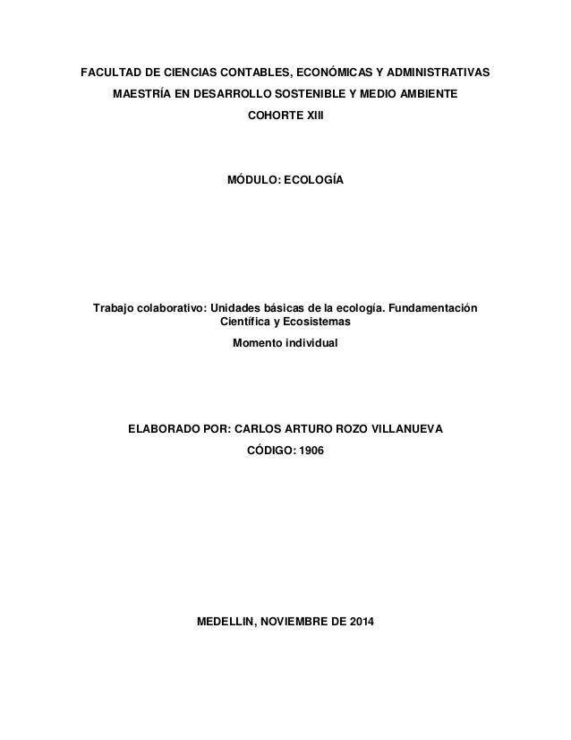 FACULTAD DE CIENCIAS CONTABLES, ECONÓMICAS Y ADMINISTRATIVAS  MAESTRÍA EN DESARROLLO SOSTENIBLE Y MEDIO AMBIENTE  COHORTE ...