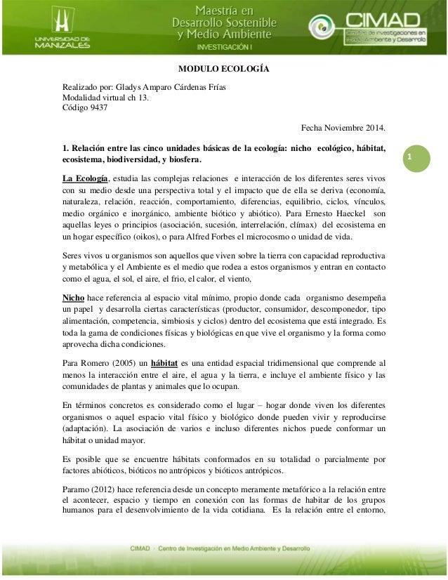1  MODULO ECOLOGÍA  Realizado por: Gladys Amparo Cárdenas Frías  Modalidad virtual ch 13.  Código 9437  Fecha Noviembre 20...