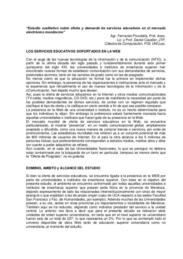 """""""Estudio cualitativo sobre oferta y demanda de servicios educativos en el mercadoelectrónico mendocino""""                   ..."""