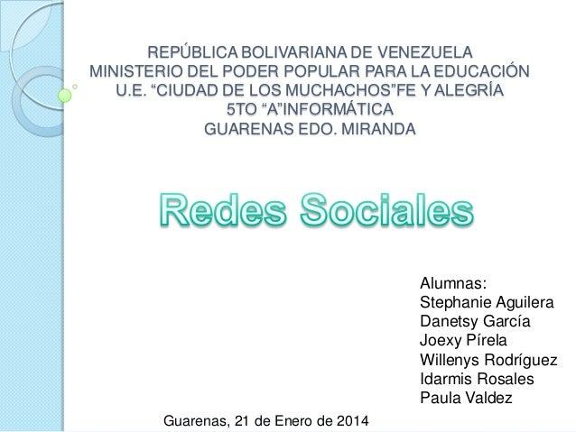 """REPÚBLICA BOLIVARIANA DE VENEZUELA MINISTERIO DEL PODER POPULAR PARA LA EDUCACIÓN U.E. """"CIUDAD DE LOS MUCHACHOS""""FE Y ALEGR..."""