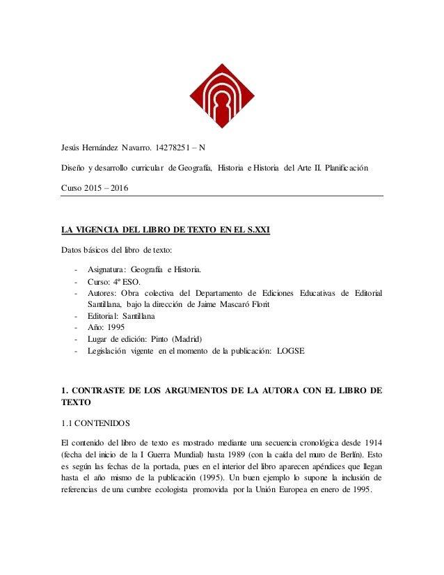 Jesús Hernández Navarro. 14278251 – N Diseño y desarrollo curricular de Geografía, Historia e Historia del Arte II. Planif...