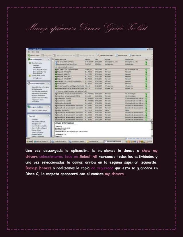 Trabajo manejo aplicación driver guide toolkit