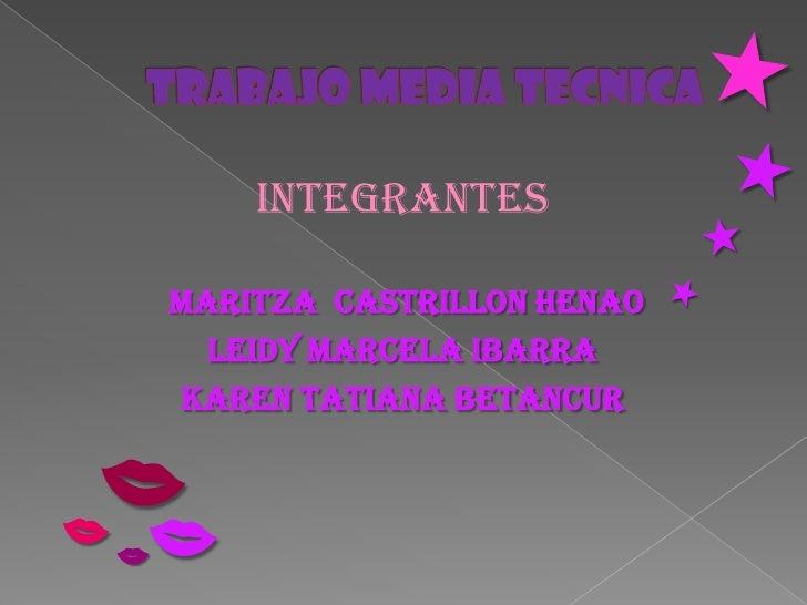 Integrantes      Maritza Castrillon Henao       Leidy Marcela Ibarra     Karen Tatiana Betancur    