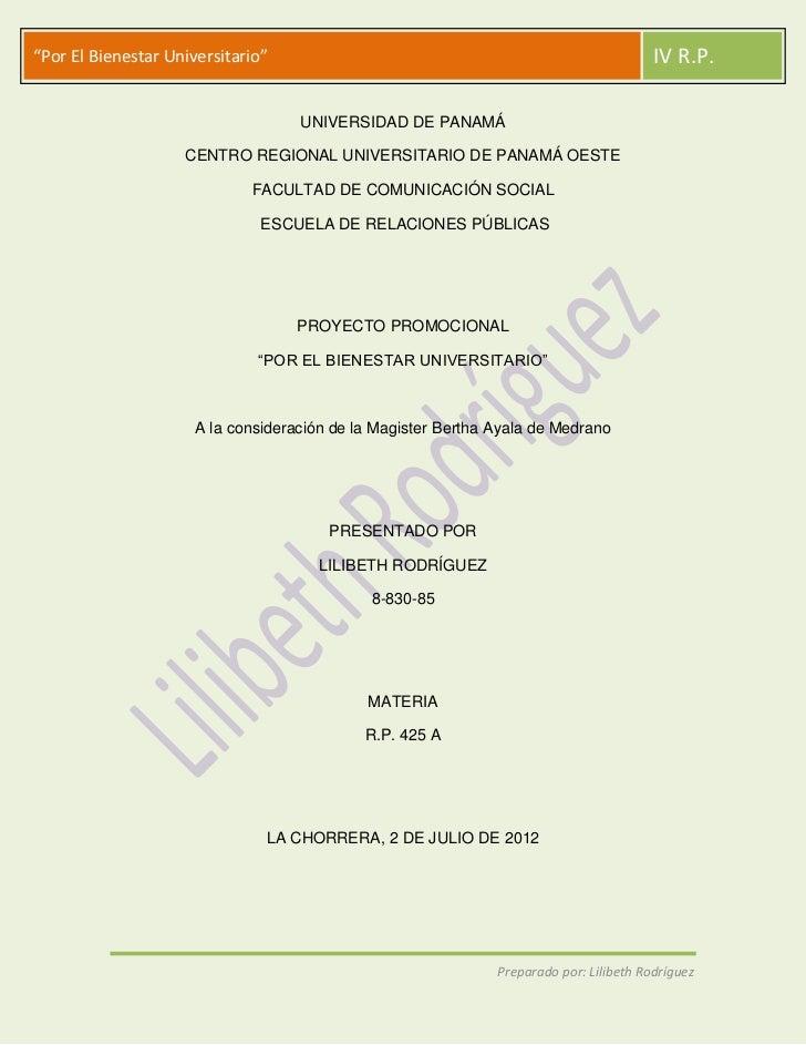 """""""Por El Bienestar Universitario""""                                                         IV R.P.                          ..."""