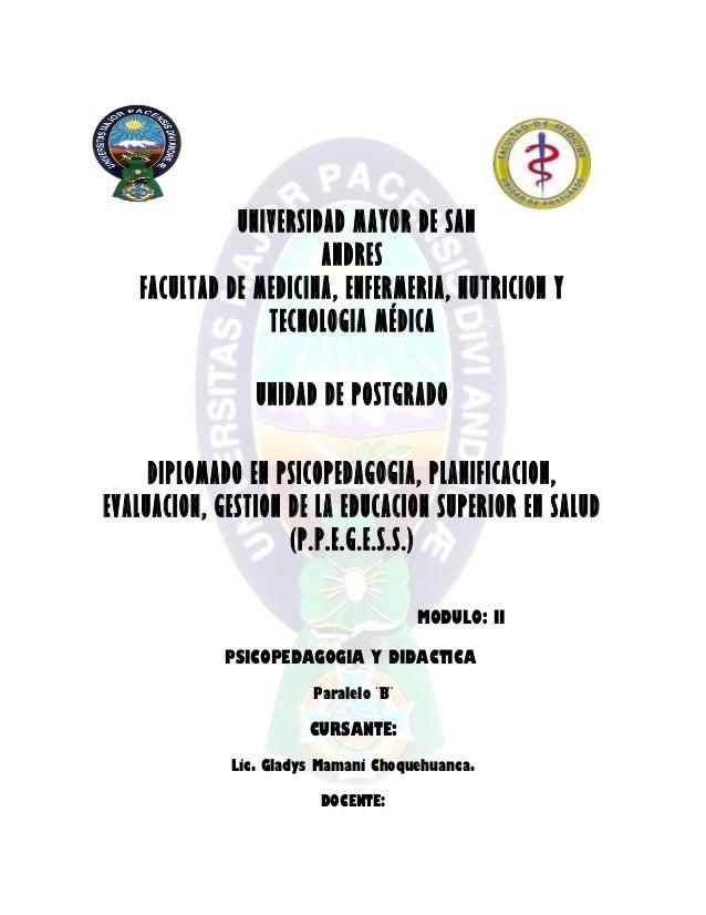 UNIVERSIDAD MAYOR DE SANANDRESFACULTAD DE MEDICINA, ENFERMERIA, NUTRICION YTECNOLOGIA MÉDICAUNIDAD DE POSTGRADODIPLOMADO E...