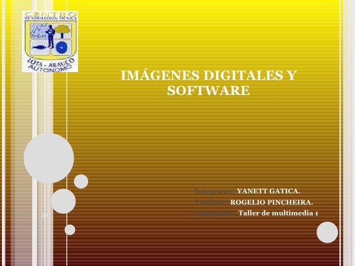 IMÁGENES DIGITALES Y SOFTWARE Integrante:  YANETT GATICA. Profesor:  ROGELIO PINCHEIRA. Asignatura:  Taller de multimedia 1