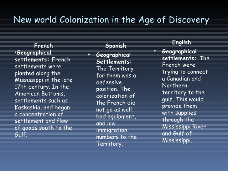 colonization of the new world essay Colonialism is the policy of a foreign polity seeking to extend or retain its authority over other people or territories, generally with the aim of developing or exploiting them to the benefit of the colonizing country and of helping the colonies modernize in terms defined by the colonizers, especially in economics, religion, and health.
