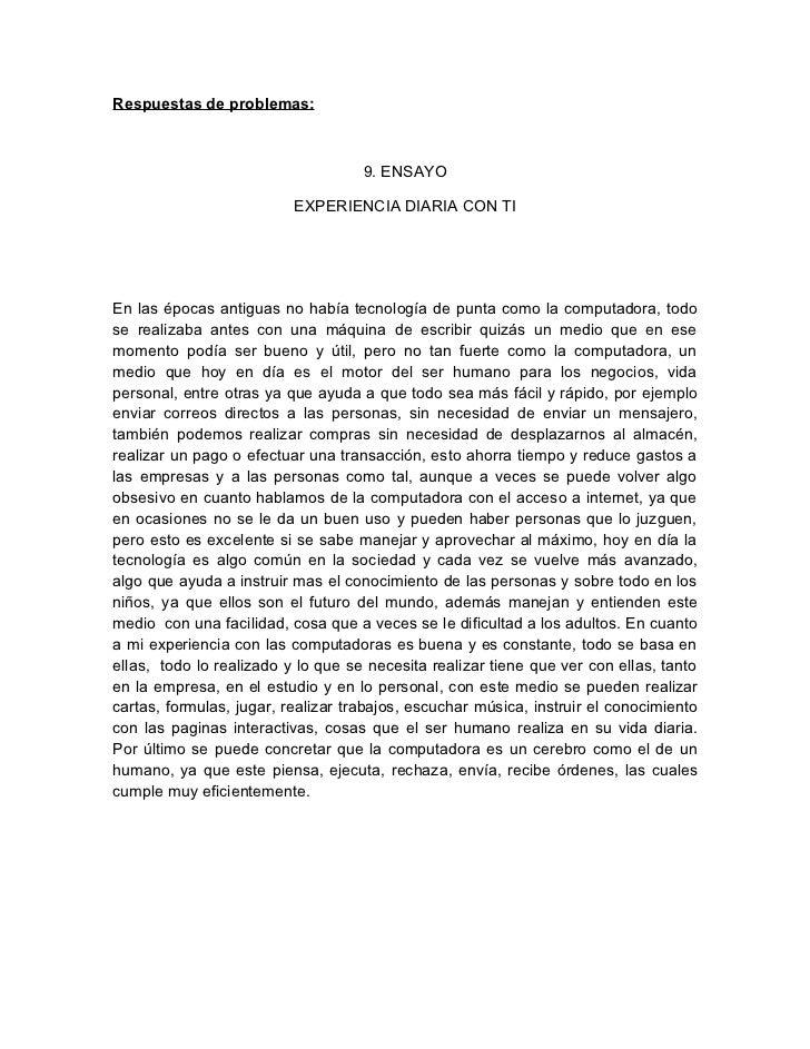 Respuestas de problemas:                                    9. ENSAYO                          EXPERIENCIA DIARIA CON TIEn...
