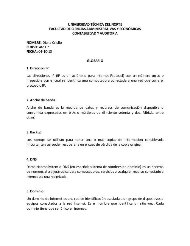 UNIVERSIDAD TÉCNICA DEL NORTE FACULTAD DE CIENCIAS ADMINISTRATIVAS Y ECONÓMICAS CONTABILIDAD Y AUDITORIA NOMBRE: Diana Cri...