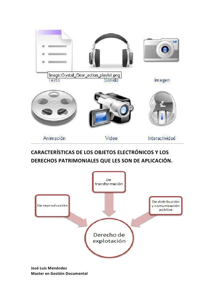 Características de los objetos electrónicos y los derechos patrimoniales que les son de aplicación.