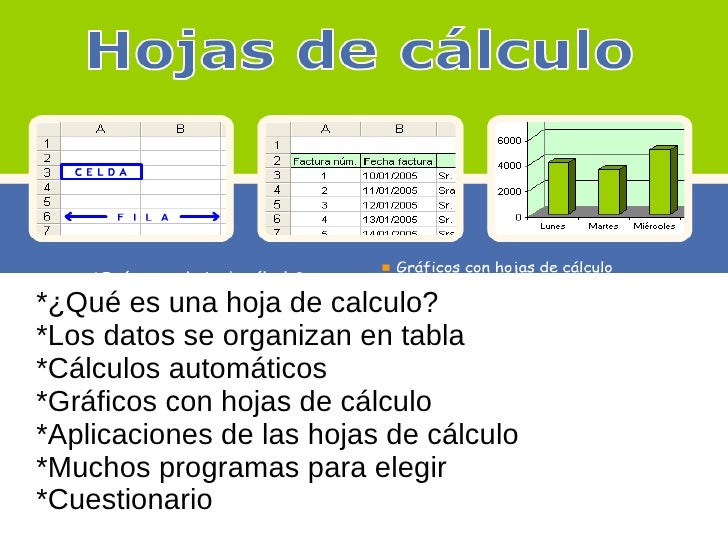 *¿Qué es una hoja de calculo? *Los datos se organizan en tabla *Cálculos automáticos *Gráficos con hojas de cálculo *Aplic...