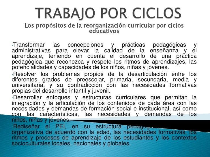 TRABAJO POR CICLOS<br />Los propósitos de la reorganización curricular por ciclos educativos <br /><br /><ul><li>Transfor...