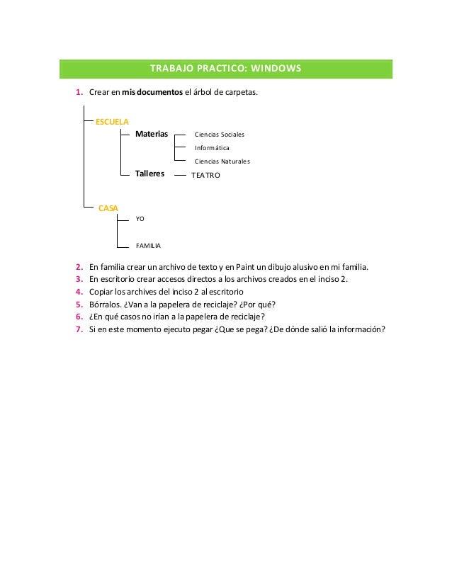 ESCUELA Materias Talleres CASA TRABAJO PRACTICO: WINDOWS 1. Crear en mis documentos el árbol de carpetas. 2. En familia cr...
