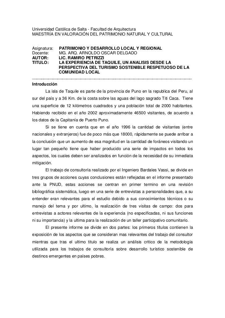 LA EXPERIENCIA DE TAQUILE, UN ANALISIS DESDE LA PERSPECTIVA DEL TURISMO SOSTENIBLE RESPETUOSO DE LA COMUNIDAD LOCAL