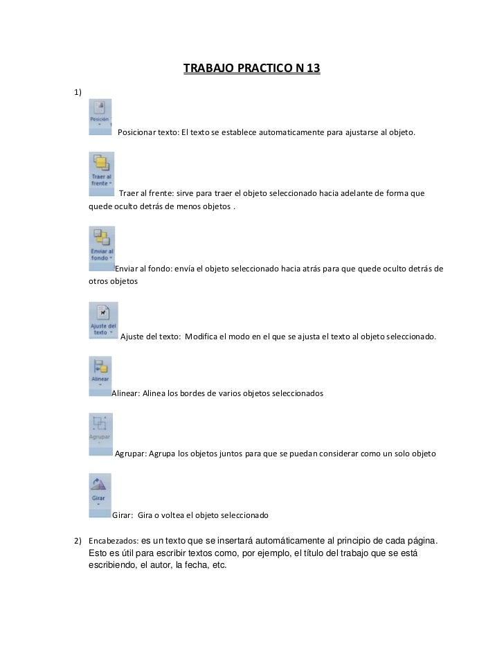 TRABAJO PRACTICO N 131)            Posicionar texto: El texto se establece automaticamente para ajustarse al objeto.      ...