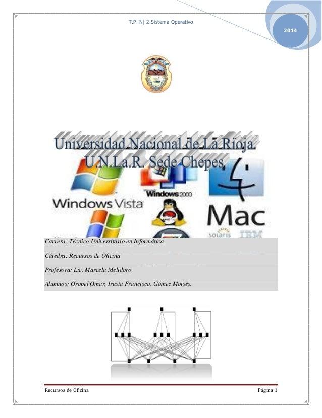 T.P. N| 2 Sistema Operativo Recursos de Oficina Página 1 2014 Carrera: Técnico Universitario en Informática Cátedra: Recur...