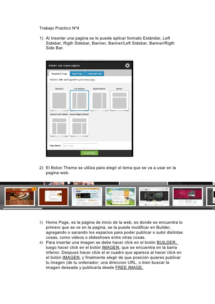 Trabajo Practico Nº41) Al Insertar una pagina se le puede aplicar formato Estándar, Left   Sidebar, Rigth Sidebar, Banner,...