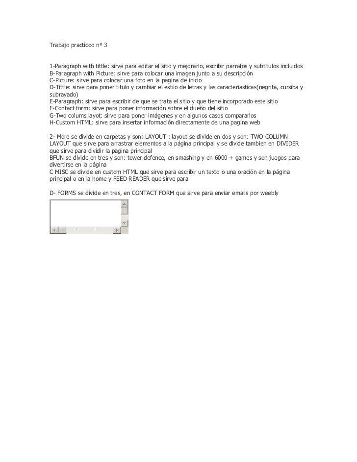 Trabajo practicoo nº 31-Paragraph with tittle: sirve para editar el sitio y mejorarlo, escribir parrafos y subtitulos incl...