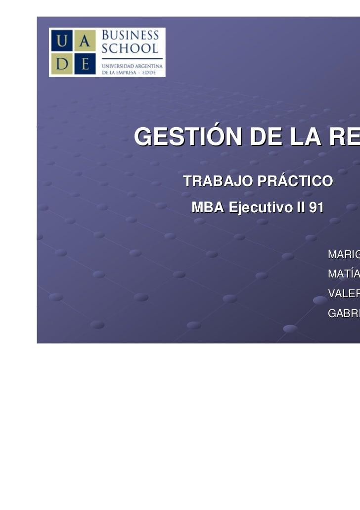 GESTIÓN DE LA RED   TRABAJO PRÁCTICO   MBA Ejecutivo II 91                         MARIGEL CORTI                         M...