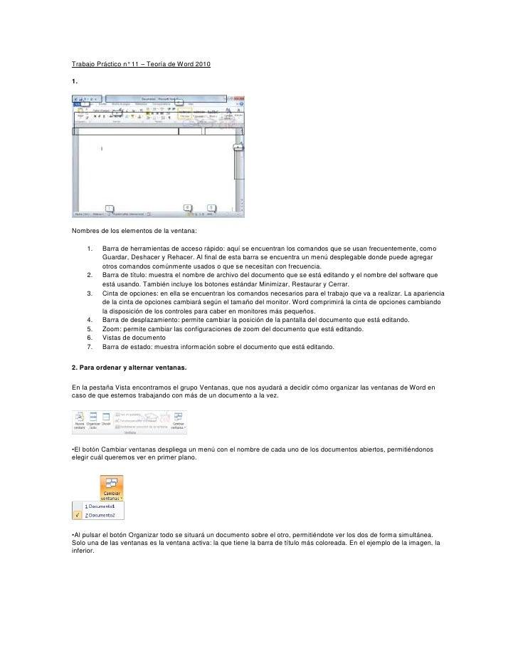 Trabajo Práctico n° 11 – Teoría de Word 20101.Nombres de los elementos de la ventana:     1.   Barra de herramientas de ac...