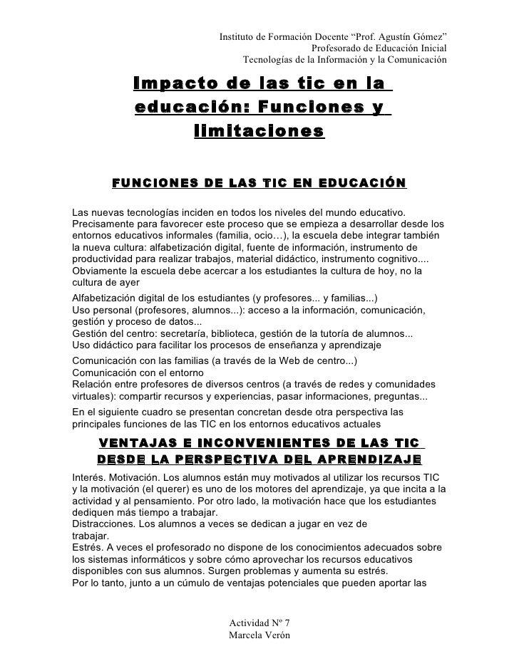 "Instituto de Formación Docente ""Prof. Agustín Gómez""                                                        Profesorado de..."