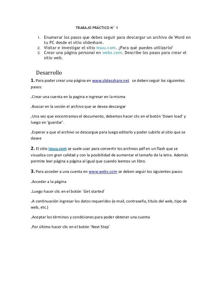 TRABAJO PRÁCTICO N° 1<br />Enumerar los pasos que debes seguir para descargar un ...