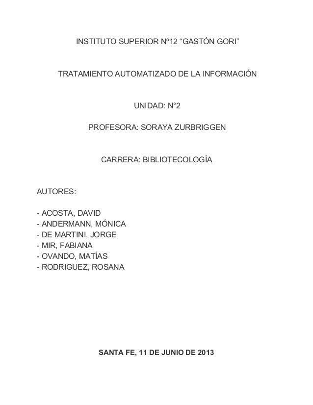 Trabajo práctico nº 3 . tratamiento automatizado de la información