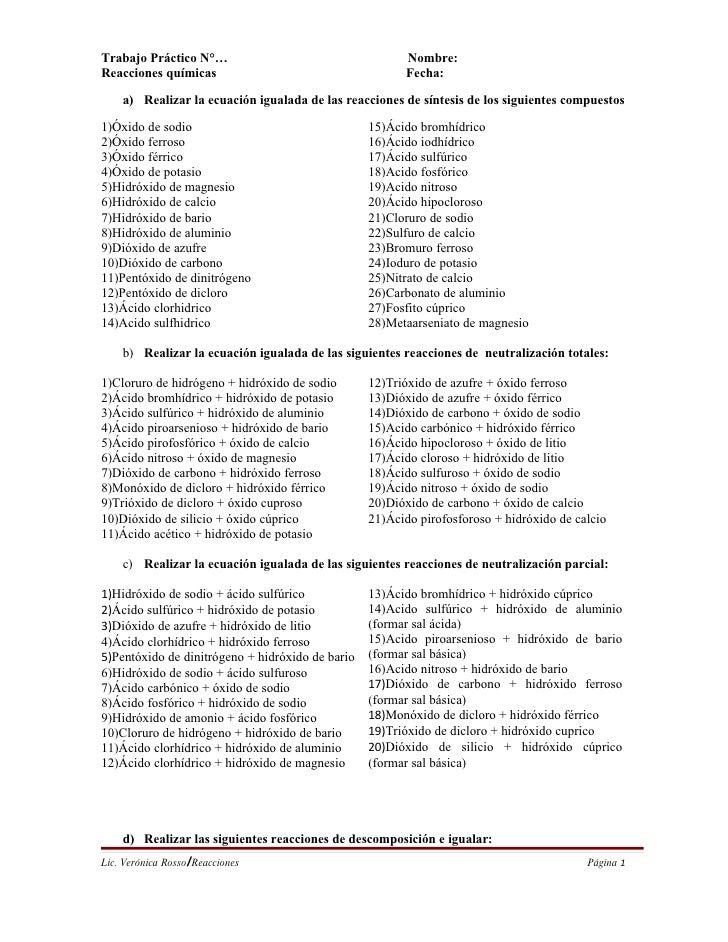 Trabajo Práctico N°…                                     Nombre: Reacciones químicas                                      ...