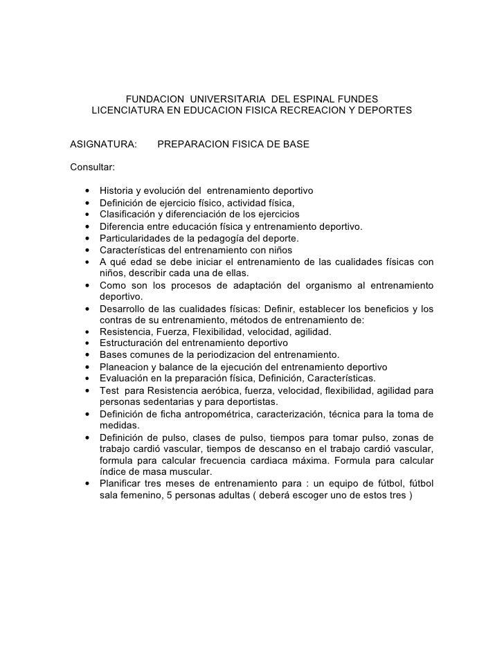 FUNDACION UNIVERSITARIA DEL ESPINAL FUNDES        LICENCIATURA EN EDUCACION FISICA RECREACION Y DEPORTES   ASIGNATURA:    ...