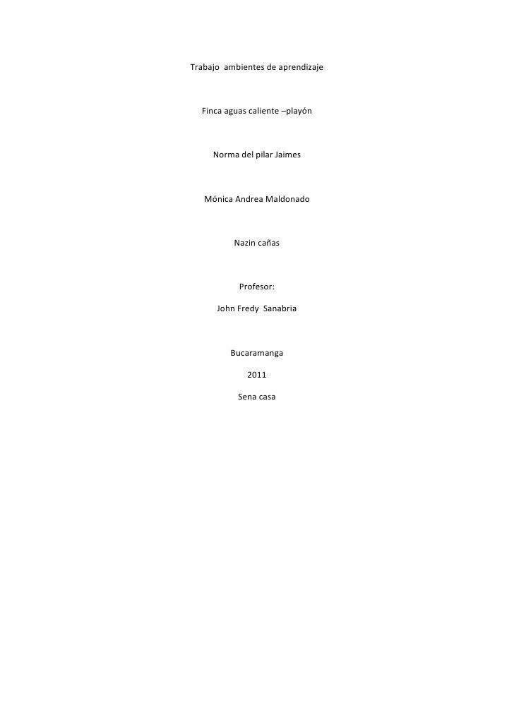 Trabajo  ambientes de aprendizaje<br />Finca aguas caliente –playón <br />Norma del pilar Jaimes <br />Mónica Andrea Maldo...